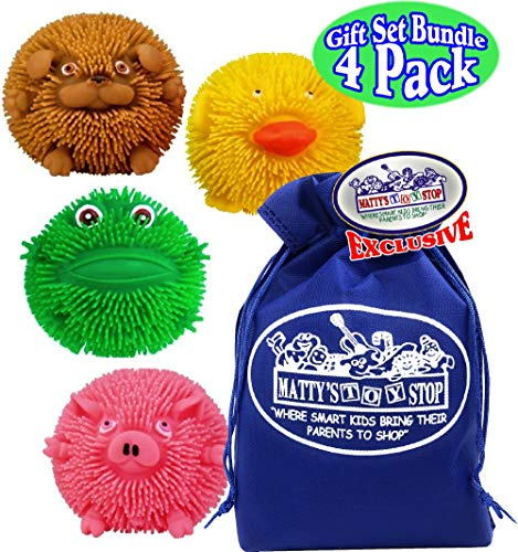 Toysmith Colorful Wee Critter Puffs Squishy Pig, Dog, Frog & Duck Gift Set Party Bundle with Bonus Matty's Toy Stop Storage Bag - 4 Pack ()