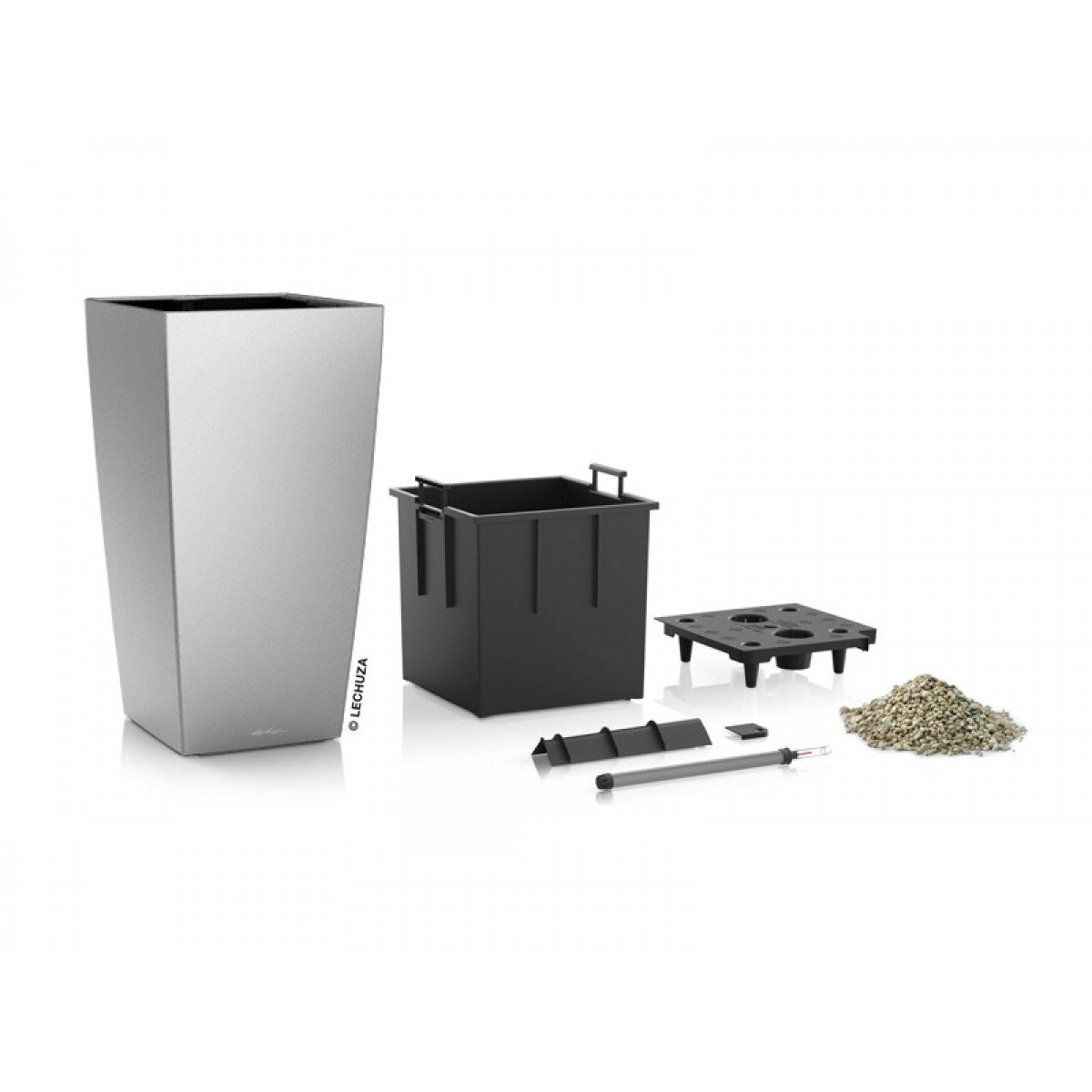 Lechuza EP-LALT-SIL-16 16 x 16 x 41 in. Cubico Alto Premium Planter44; Silver Metallic
