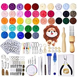 Jupean Needle Felting Kit, Needle Felting Supplies with 40 Colors Wool Roving, Felting Needles and Mat, 464 Pieces Wool Felt Tools for Beginners