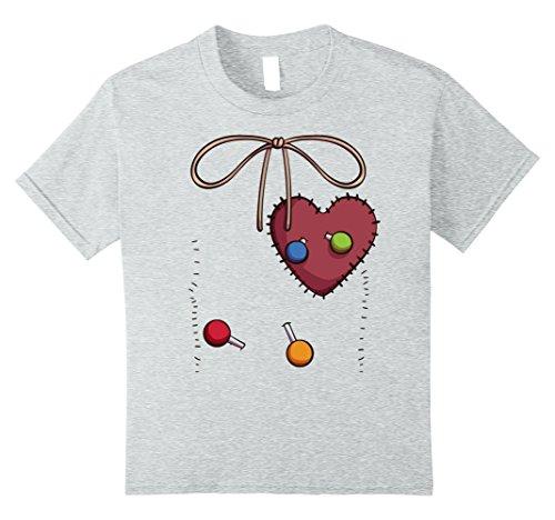 Children's Voodoo Doll Costume (Kids Voodoo Doll Costume T-Shirt for Halloween Voodoo Cosplay 10 Heather Grey)