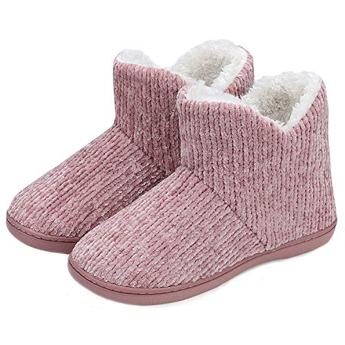 TUOBUQU Women Warm Bootie Slippers Fluffy Plush Indoor Outdoor Winter Booty Slippers Pink S ()