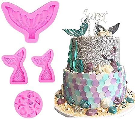 4 moldes de silicona para fondant de cola de sirena y conchas, para decoración de tartas, dulces y chocolate, para fiesta temática de sirena o fiesta de cumpleaños