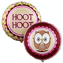 "1st Birthday Owl Party Look Whoo's 1 Pink 18"" Foil Balloon"