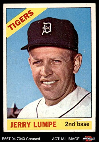 Wdg Base (1966 Topps # 161 WDG Jerry Lumpe Detroit Tigers (Baseball Card) (White wedge in yellow over 2nd Base) Dean's Cards 3 - VG Tigers)