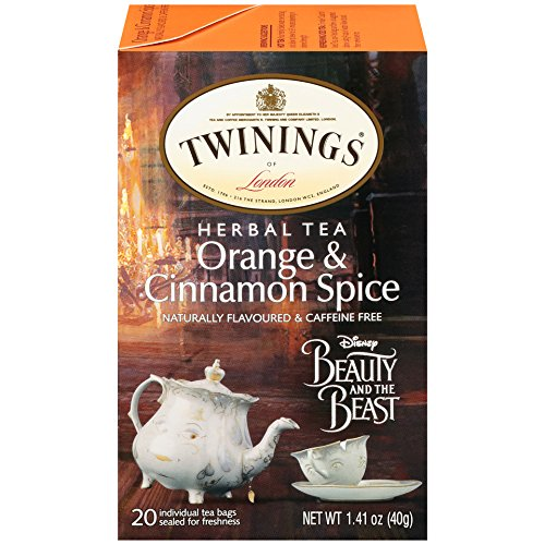 Twinings Orange and Cinnamon Spice Herbal Tea with Disney's Beauty and the Beast Graphics, 20 Count Tea Bags - Pack of ()
