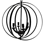 Benzara C491-JLC6016 4-Light Modern Sphere/Orb Chandelier with Interlocking Rings, Bronze, Black