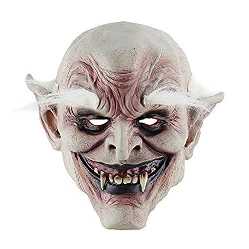White-Browed Old Demon Halloween Horror Devil Mask Latex Headgear Vampire Haunted House Evil Killer Fancy Dress (B)]()