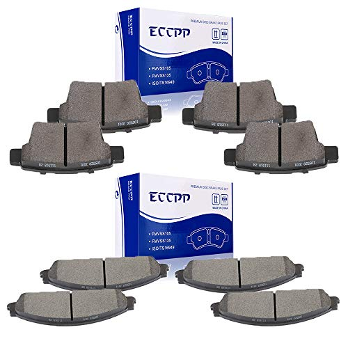 (ECCPP Brake Pads, 8pcs Front Rear Ceramic Disc Brakes Pads Set fit for 2005-2007 Ford Five Hundred, Ford Freestyle 2009 Ford Taurus Ford Taurus X 2005 2007 Mercury Montego 2008 2009 Mercury Sable)