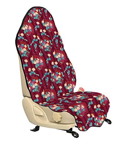 Lunarable Japanese Car Seat Cover, Far East Asian Floral Arrangement Morning Glory Pattern a Oriental Background, Car Truck Seat Cover Protector Nonslip Backing Universal Fit, Multicolor