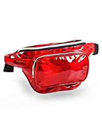Holographic Fanny Packs for Women – Outdoor Sport Waist Pack for Running, Hiking, Traveling for Men (Red)
