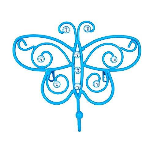 Blue Rhinestone Butterfly Metal Wall Hook