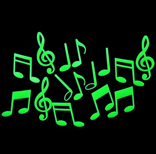 Romantic Music Notes Glow in the Dark Fluorescent Plastic Home Decorate Wall - In Malls Chino