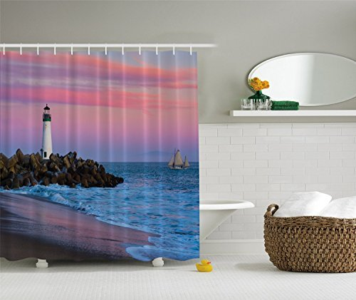 Think-Yes-Santa-Cruz-Lighthouse-Sunset-on-Beach-Ocean-Fabric-Shower-Curtain-Elusive-to-Your-Curtain-Call
