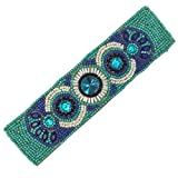 Gypsy Jewels Bohemian Beaded Multi Color Statement Wired Adjustable Cuff Bracelet (Royal & Aqua Blue)