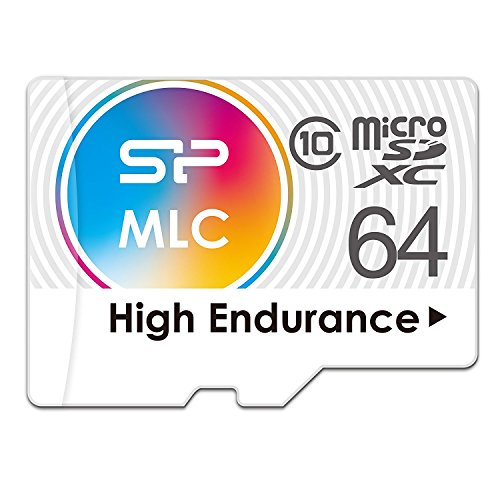 Silicon Power 64GB High Endurance MLC MicroSDXC Memory Card for Dash Cam and Security Camera, with Adapter (SP064GBSTXIU3V10SP) by Silicon Power