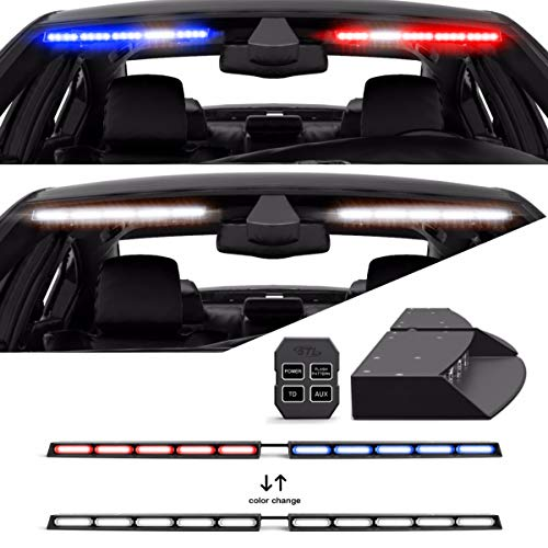 Super Take Down Raptor TIR Interior Upper Windshield Split LED Visor Light Bar for Emergency Vehicle Warning Visor Lights - Red/Blue - Clear