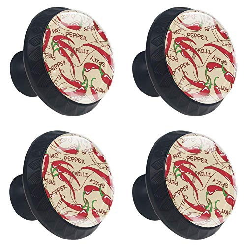 (Idealiy Red Hot Chili Peppers Drawer Pulls Handles Cabinet Dressing Table Dresser Knob Pull Handle with Screws 4pcs)