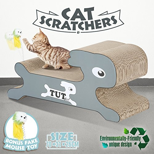 Petscene Cat Scratcher Lounge Scratching Post Corrugated Cardboard Scratch Board With Fake Mouse Toy  Rabbit Shape