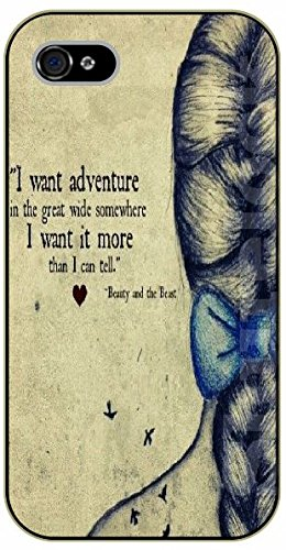 iPhone 6+ Plus I want adventure in the great wide somewhere. I want it more than I can tell - black plastic case / Walt Disney And Life Quotes, beast, beauty, and the