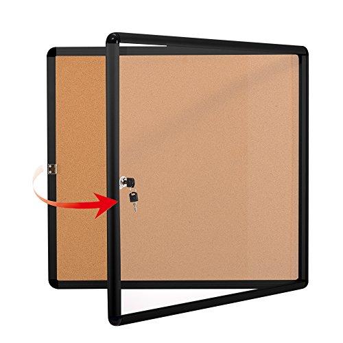 Swansea Lockable Noticeboard Bulletin Pin Cork Boards Tamper Proof with Mounting Screws 28×26 inch (6xA4)