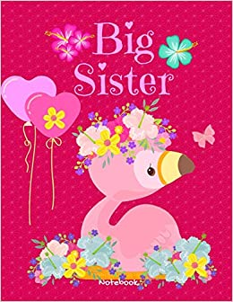 Big Sister Notebook: Personalized Cute Flamingo Balloons ...