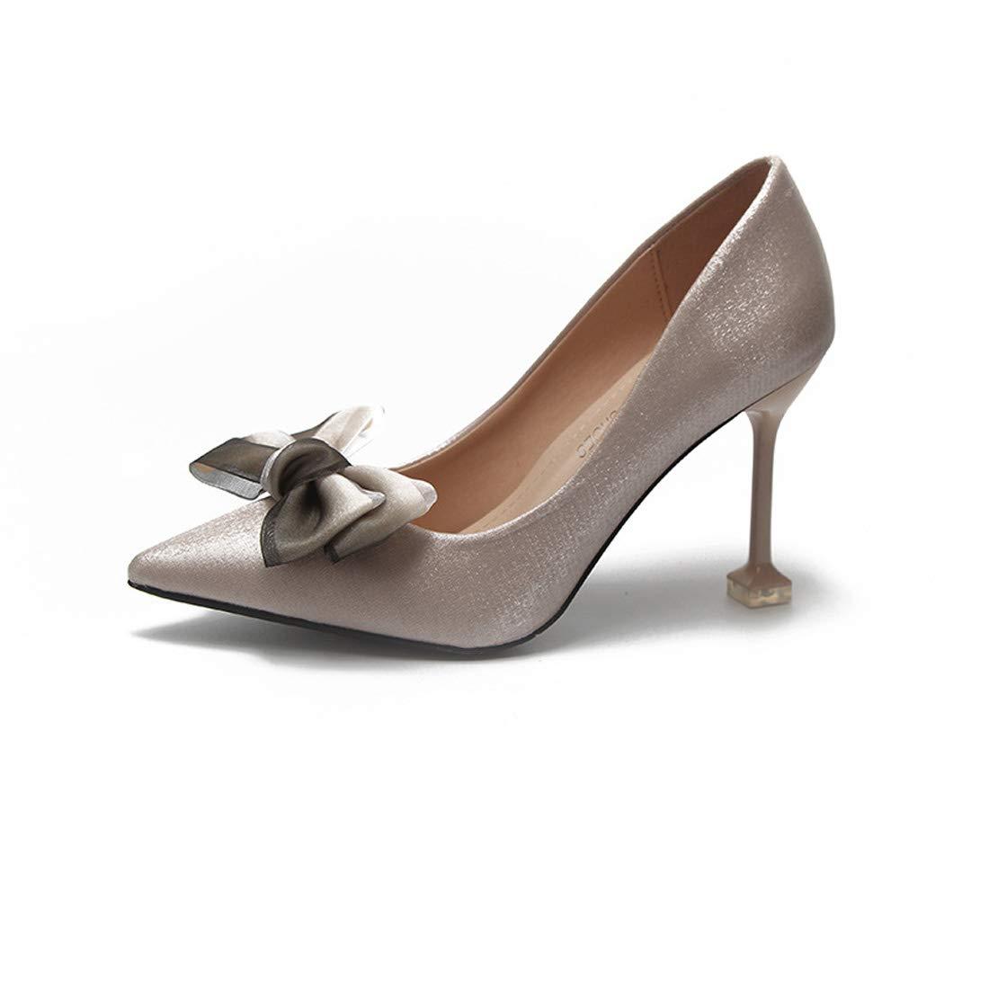 ZXMXY Frauen Court Schuhe Bow High Heels Herbst Mode Spitz Kitten HEE Schuhe Sandalen im Freien