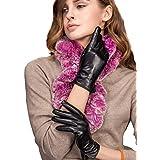 "YISEVEN Women's Touchscreen Lambskin Dress Leather Gloves Flat Design Button Cuff Wool Lined Luxury Stylish Elegant Warm Fleece Fur Heated Lining Winter Driving Work Xmas Gifts, Black 9.0""/XXXL"