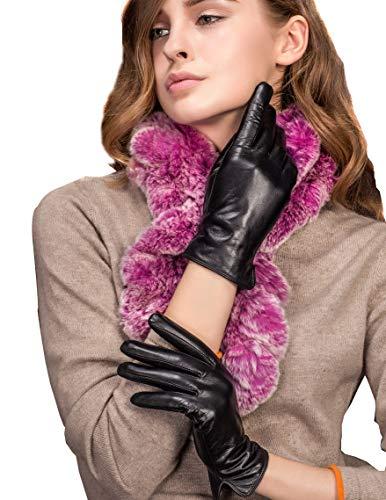 YISEVEN Women's Touchscreen Lambskin Dress Leather Gloves Flat Design Button Cuff Wool Lined Luxury Stylish Elegant Warm Fleece Fur Heated Lining Winter Driving Work Xmas Gifts, Black ()