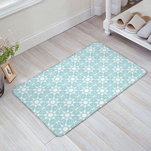 OneHoney Daisy Lattice Blue Moroccan Trellis floral Entrance Rug Floor Mats Home Welcome Shoe Scraper Doormat 20 x 31.5 (Company Floral Trellis)