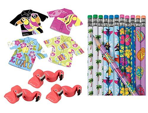 Nikki's Knick Knacks Luau Tropical Notebooks, Pencils, and Erasers ()