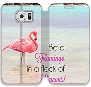 Be A Flamingo In A Flock Of Pigeons-3 iPhone Samsung Galaxy S6 Leather Flip Case Protective Cover New Colorful