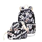 Joymoze Waterproof School Backpack for Girl Cute Backpack Set 3 Pieces for Women Floral 825