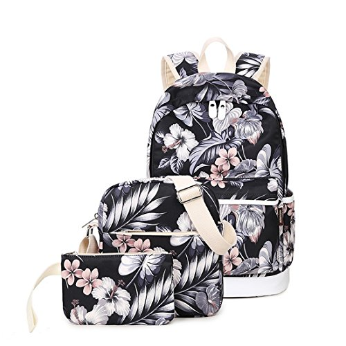 Joymoze School Backpack for Girl Cute Backpack Set 3 Pieces for Women Floral]()