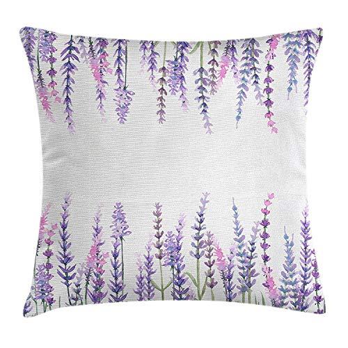 UTF4C - Funda de Almohada de algodón con diseño de arbusto de Menta, arbusto de Verde, Aroma aromático, Color Lila