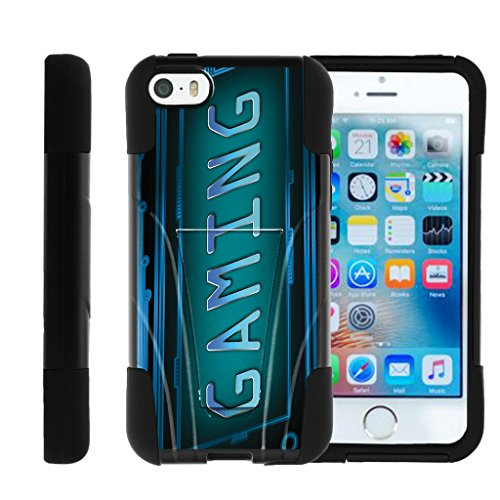 TurtleArmor | Compatible for Apple iPhone SE Case | iPhone 5/5s Case [Gel Max] Hybrid Hard Shell Impact Silicone Cover Layer with Kickstand Video Games Design Series - Gaming Cyber