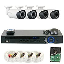 GW Security GW4CH4C9082CVM 4 Channel HD-CVI DVR (4) 2.8-12mm Motorized Zoom 2MP 1080P Weatherproof Sony Cmos Video Security Camera System