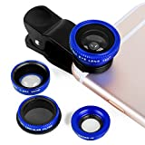 Luxsure Universal 4 in 1 Camera Lens Kit Fish Eye Lens + 2 in 1 Macro Lens + Wide Angle Lens + CPL Lens for iPhone 6/6 Plus/6s/6s plus/5/5S/4/4S,iPad Air/Mini,Samsung Galaxy/Note,Sony Xperia(Blue)