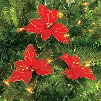 3 Nylon And Glitter Poinsettia Ornaments