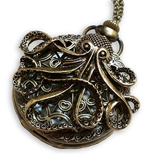 pus Pocket Watch Necklace - Octopus Sea Monster Pocketwatch Pendant (Brass) ()