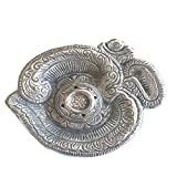 The Hue Cottage Incense Stick Holder Decorative Handcrafted Silver Candle Stand Om Design Aluminium Showpiece Indian Gift Items 11.5 cmx 10.5cm