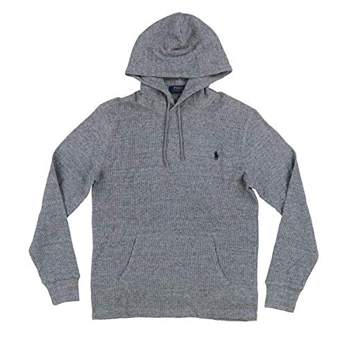 (Polo Ralph Lauren Mens Hooded Waffle Knit T-Shirts (Medium, Heather Gray))