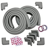 Macro Giant Baby Edge & Corner Guards Set, 6.5ft Cushion x2 and Corner x8, Gray, L Shape, NBR, 3M Double-Sided Tapes Stickers
