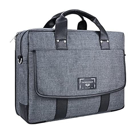Vangoddy Chrono Grey Carrying Tote Crossbody Shoulder Bag for Dell Alienware 15 | Inspiron 15 3000 5000 7000 Series 15.6