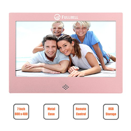 FULLBELL 7 Inch Digital Picture Frame, FU-DPF7RG with 800×480 TFT LCD Screen, Metal Case, 8GB Memory and IR Remoter (Rose Gold)