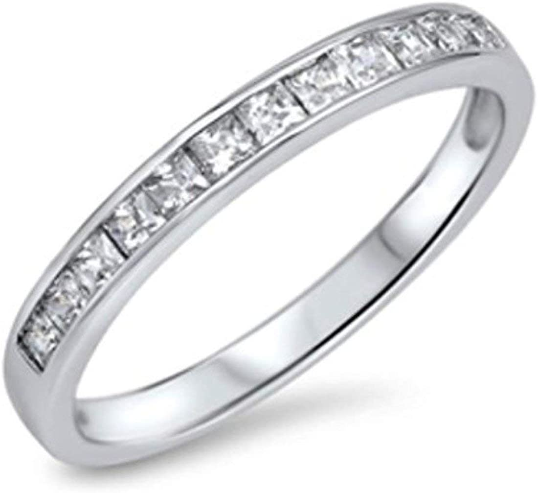 Blue Apple Co. Half Eternity Band Wedding Engagement Ring Princess Cut Square Invisible Cubic Zirconia 925 Sterling Silver