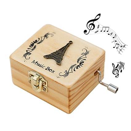 Puro Mano Caja de Música Clásico de Retro Madera,Caja Decorativa, Cumpleaños, Aniversario