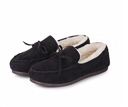 Women Shoes Ballet Flats Winter Plush Shoes PU Leather Driving Shoes Woman Bowtie Fur Loafers Womens
