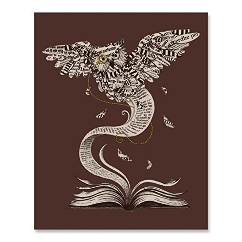 Paper Owl Book Lover Art Print Beautiful Literature Monocle Bird Feathers Wall Poster Brown Reading Fantasy Home Decor 8 x 10 inches
