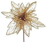 Pack of 4 Gold Glittered Mesh Poinsettia Stem 36''