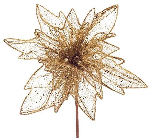 Pack of 4 Gold Glittered Mesh Poinsettia Stem 36'' by Melrose